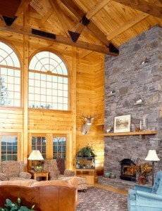 National Log Home Month, Timberhaven Log Homes, interior view
