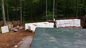 staging of Timberhaven materials, delivery day, log homes, log cabin, custom built log home, laminated, kiln-dried