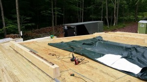 prepping subfloor and laying out logs, log home construction site, pre-cut logs, laminated, kiln dried, Timberhaven, custom built log home, home builder