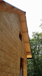 soffit area with tongue & groove, log home under construction, custom built log home, Timberhaven, kiln dried, laminated, heavy timbered system
