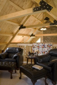 roof systems, beam & purlin roof system, loft of log home, Timberhaven, kiln dried, laminated, roof systems