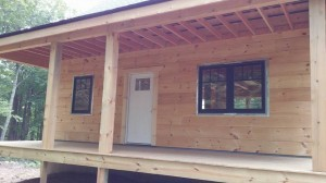 window and door installation, Timberhaven, log homes, log home under construction, custom built log home, laminated, kiln-dried, White Pine