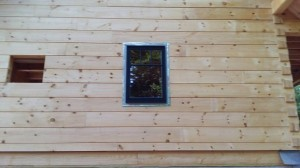 window installation, Timberhaven, log homes, log home under construction, custom built log home, laminated, kiln-dried, White Pine