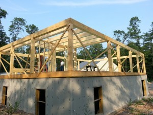 post & beam home, under construction, heavy timber, Timberhaven log homes, log cabins
