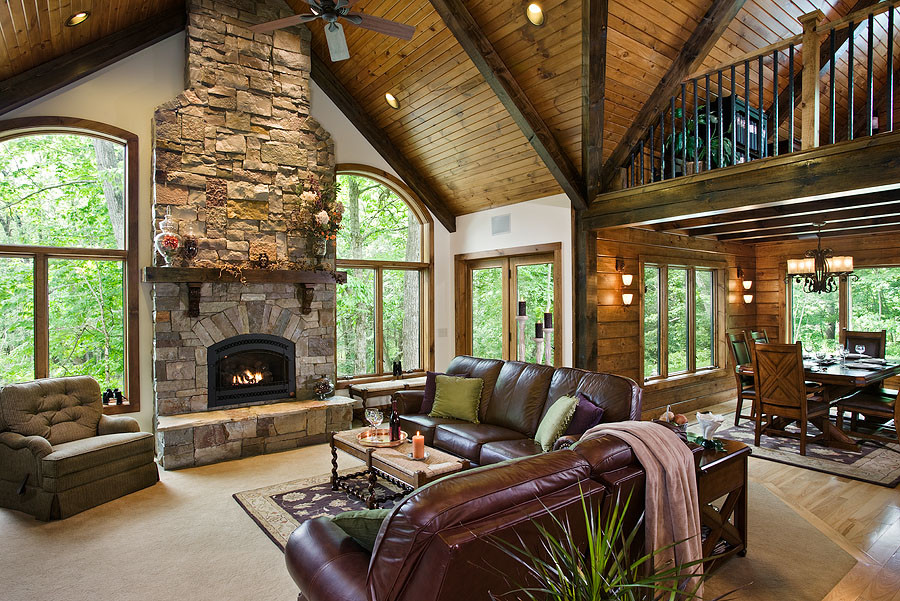 Beautiful Great Room Interior With Beautifully Stained Beams And Tongue And Groove,  Timberhaven Log Homes, ...