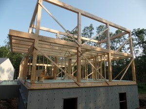 second floor framework on post and beam home, post and beam homes, under construction, Timberhaven Log Homes, log home, log cabin, log cabins, laminated, kiln dried