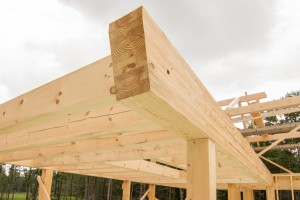 glu-lam in post and beam home under construction, Timberhaven, log home, log homes, log cabin, laminated, kiln dried