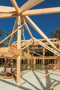 heavy timber rafters and compound cuts, post and beam home design, under construction, log homes, log cabins, log kits, Timberhaven, laminated, kiln dried