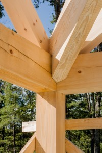 heavy timber rafters and compound cuts, post and beam home design, under construction, log homes, log cabins, log kits, Timberhaven, laminated, kiln dried, glu-lam