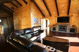 log great room with contrasting beams, Timberhaven log home in Ararat, VA, JB Kerns wounded warrier project, honored to support, Timberhaven Log Homes, log home, log cabin, log cabins, log kits, laminated, kiln dried
