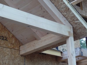 compound cuts and tongue and groove on porch, White Pine, post and beam porch, under construction, solid wood home, log homes, log cabins, log cabin kit, Pennsylvania home, Timberhaven, laminated, kiln dried
