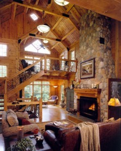 beautiful log home great room with massive fireplace, Timberhaven Log Homes, log home, log cabin kits, log cabins, post and beam homes, custom wood home, design ideas, laminated, kiln dried, under construction