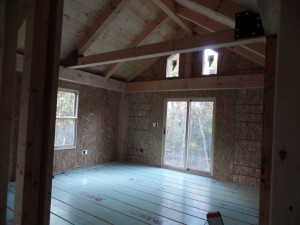 interior of post and beam home under construction, post and beam wood home, custom design, dream home, log homes, log cabin homes, log cabin kits, log cabins, Timberhaven Log Homes, laminated, kiln dried