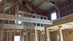 unfinished inside of log cabin home with loft, log cabin, log cabin homes, log homes, log cabin kits, Timberhaven, under construction, post and beam, laminated, kiln dried, PA manufacturer