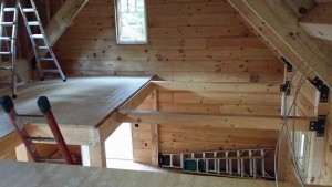 2x6 tongue and groove loft flooring, log cabin, log homes, log cabin homes, Timberhaven, under construction, laminated, kiln dried, Pennsylvania manufacturer