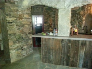 custom stone work and bar boards in finished high-end basement, Timberhaven Log Homes, Valley View, floor plan ideas, complete customization, laminated logs, engineered logs, kiln dried logs, design services, Pennsylvania, log homes, log cabins, log cabin kits, log cabin homes, log home packages