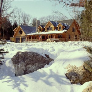 custom log home in snowy wooded setting, cape cod design, humidity levels, Timberhaven Log Homes, log homes, log cabin homes, log cabins, post and beam homes, timberframe homes, timber frame homes, laminated logs, engineered logs, floor plan designs, kiln dried logs