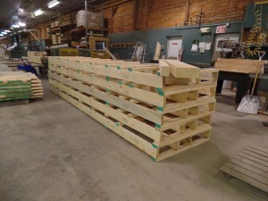 specialized pallets for log home going to Ireland, Timberhaven Log Homes, log homes, log cabin homes, log cabins, post and beam homes, timberframe homes, timber frame homes, laminated logs, engineered logs, floor plan designs, kiln dried logs, , international distribution