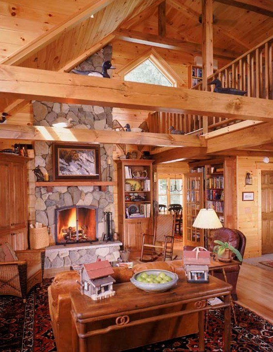 Main Living Area Of Custom Log Home With Fireplace And Cathedral Ceiling,  Cape Cod Design
