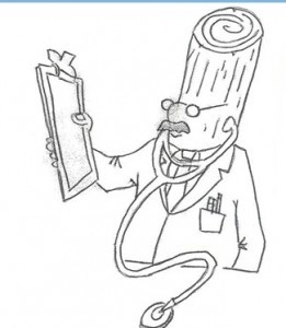 Dr. Kiln Dry cartoon of log headed doctor holding a cilpboard, Timberhaven Log Homes, log homes, log cabin homes, log cabins, post and beam homes, timberframe homes, timber frame homes, laminated logs, engineered logs, floor plan designs, kiln dried logs, Timberhaven local reps, log home builders, kiln-dried engineered logs, PA log homes, log homes in PA, kiln-dried engineered logs