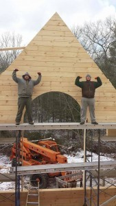 log homes builders showing excitement about their work on a custom log home, Timberhaven Log Homes, log homes, log cabin homes, log cabins, post and beam homes, timberframe homes, timber frame homes, laminated logs, engineered logs, floor plan designs, kiln dried logs, Flury Builders, Joe Walsh, Timberhaven local reps, log homes in Massachusetts, log homes in Rhode Island, MA, RI, log home builders