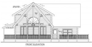 front elevation of custom log home, Rhode Island log home, Timberhaven Log Homes, log homes, log cabin homes, log cabins, post and beam homes, timberframe homes, timber frame homes, laminated logs, engineered logs, floor plan designs, kiln dried logs, Flury Builders, Joe Walsh, Timberhaven local reps, log homes in Massachusetts, log homes in Rhode Island, MA, RI, log home builders