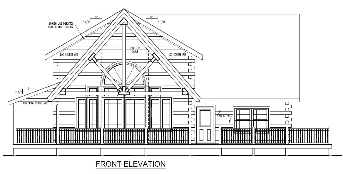 Front Elevation With Balcony : Rhode island log home under construction