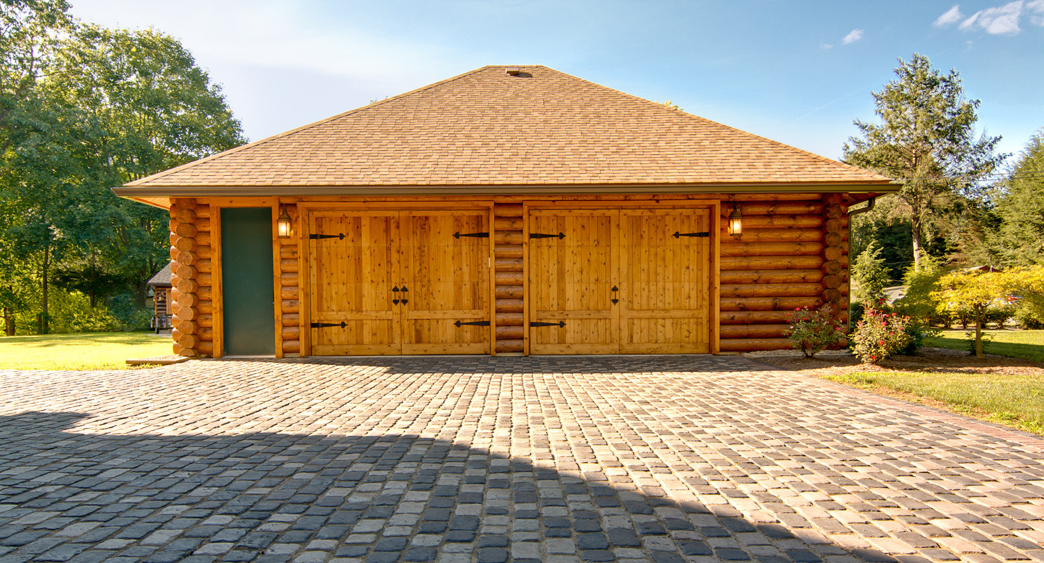 Fully Finished Solid Log Two Car Garage Timberhaven Homes