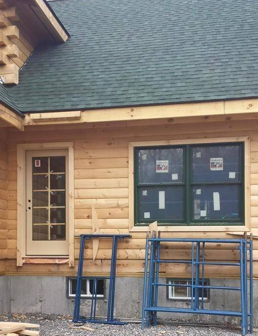 Trim For Doors And Windows Log Home Under Construction