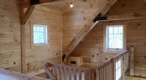 loft area of white pine log home, Timberhaven Log Homes, log homes, log cabin homes, log cabins, post and beam homes, timberframe homes, timber frame homes, laminated logs, engineered logs, floor plan designs, kiln dried logs, Timberhaven local reps, log home builders, interior wall coverings, log homes in PA
