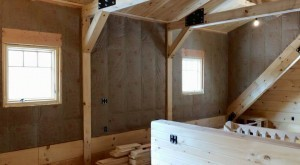 Interior Wall Coverings Log Home Under Construction