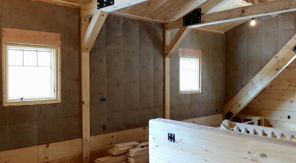 Interior Wall Coverings: Log Home Under Construction