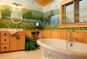 bathroom with claw foot tub and mural on wall, Timberhaven Log Homes, log homes, log cabin homes, log cabins, post and beam homes, timberframe homes, timber frame homes, laminated logs, engineered logs, floor plan designs, kiln dried logs, Timberhaven local reps, log home builders, interior wall coverings, log homes in PA