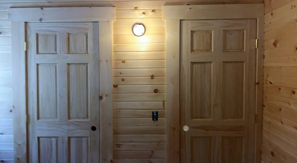Two White Pine Interior Doors Side By Side In Log Home, Name Brand  Components