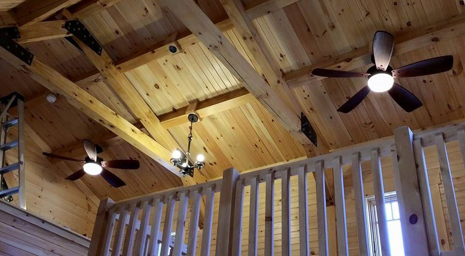 Timber Frame Ceiling Fan : Log home under construction interior finishes