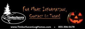 company logo with jack-o-lantern and contact information, Log home kitchens, Timberhaven Log Homes, log homes, log cabin homes, log cabins, post and beam homes, timberframe homes, timber frame homes, laminated logs, engineered logs, floor plan designs, kiln dried logs, Timberhaven local reps, log homes in PA, log home builders