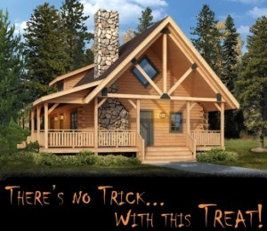 artistic rendering of log home in the woods, Clear Creek, Halloween artwork for Clear Creek promotion, Log home kitchens, Timberhaven Log Homes, log homes, log cabin homes, log cabins, post and beam homes, timberframe homes, timber frame homes, laminated logs, engineered logs, floor plan designs, kiln dried logs, Timberhaven local reps, log homes in PA, log home builders