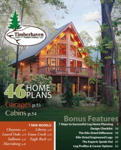 cover of a plan book showing log home, images of homes and floor plans of a book, Log home kitchens, Timberhaven Log Homes, log homes, log cabin homes, log cabins, post and beam homes, timberframe homes, timber frame homes, laminated logs, engineered logs, floor plan designs, kiln dried logs, Timberhaven local reps, log homes in PA, log home builders, award-winning plan book, award winning plan book
