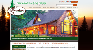 image of website homepage, images of homes and floor plans of a book, Log home kitchens, Timberhaven Log Homes, log homes, log cabin homes, log cabins, post and beam homes, timberframe homes, timber frame homes, laminated logs, engineered logs, floor plan designs, kiln dried logs, Timberhaven local reps, log homes in PA, log home builders, award-winning plan book, award winning plan book