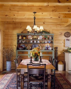 dining room area with large table in center of room, Warm Thanksgiving wishes, Log home kitchens, Timberhaven Log Homes, log homes, log cabin homes, log cabins, post and beam homes, timberframe homes, timber frame homes, laminated logs, engineered logs, floor plan designs, kiln dried logs, Timberhaven local reps, log homes in PA, log home builders, give thanks, thank you