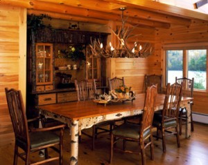 birch dining room furniture in log home, Warm Thanksgiving wishes, Log home kitchens, Timberhaven Log Homes, log homes, log cabin homes, log cabins, post and beam homes, timberframe homes, timber frame homes, laminated logs, engineered logs, floor plan designs, kiln dried logs, Timberhaven local reps, log homes in PA, log home builders, give thanks, thank you