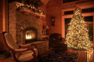 fireplace and christmas tree in log home, Log home Christmas, Timberhaven Log Homes, Timberhaven Log & Timber Homes, log homes, log cabin homes, log cabins, post and beam homes, timberframe homes, timber frame homes, laminated logs, engineered logs, floor plan designs, kiln dried logs, Timberhaven local reps, log homes in PA