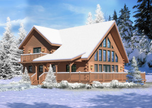 rendering of Aspen Hill I in the snow, Fall in love, Timberhaven Log Homes, Timberhaven Log & Timber Homes, log homes, log cabin homes, log cabins, post and beam homes, timberframe homes, timber frame homes, laminated logs, engineered logs, floor plan designs, kiln dried logs, Timberhaven local reps, log homes in PA