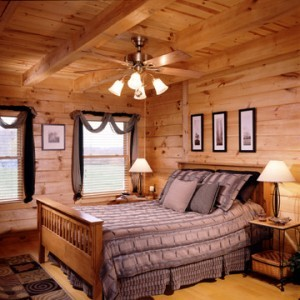 bed in log home, valley view I, valley view I special offer, log homes, log cabin homes, log cabins, post and beam homes, timberframe homes, timber frame homes, laminated logs, engineered logs, floor plan designs, kiln dried logs, Timberhaven local reps, log homes in Pennsylvania, log homes in PA, Timberhaven Log Homes, Timberhaven Log & Timber Homes