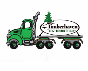 Timberhaven Log Home logo strapped to truck illustration, new location, Timberhaven Log Homes, Timberhaven Log & Timber Homes, log homes, log cabin homes, log cabins, post and beam homes, timberframe homes, timber frame homes, laminated logs, engineered logs, floor plan designs, kiln dried logs, Timberhaven local reps, log homes in Pennsylvania, PA