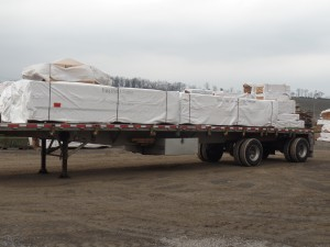 first truckload of material to leave Middleburg facility, making great progress, log homes, log cabin homes, log cabins, post and beam homes, timberframe homes, timber frame homes, laminated logs, engineered logs, floor plan designs, kiln dried logs, Timberhaven local reps, log homes in Pennsylvania, log homes in PA, Timberhaven Log Homes, Timberhaven Log & Timber Homes