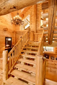 log stair system in log home, wooden stair system, Log stair system, log homes, log cabin homes, log cabins, post and beam homes, timberframe homes, timber frame homes, laminated logs, engineered logs, floor plan designs, kiln dried logs, Timberhaven local reps, log homes in Pennsylvania, log homes in PA, Timberhaven Log Homes, Timberhaven Log & Timber Homes