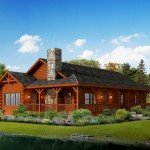 Liberty log cabin home exterior rendering.