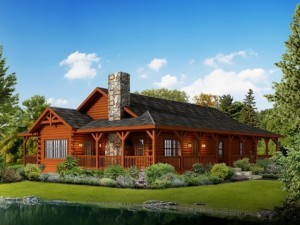 rendering of Liberty log home, Liberty log home package, May feature home, log homes, log cabin homes, log cabins, post and beam homes, timberframe homes, timber frame homes, laminated logs, engineered logs, floor plan designs, kiln dried logs, Timberhaven local reps, log homes in Pennsylvania, log homes in PA, Timberhaven Log Homes, Timberhaven Log & Timber Homes