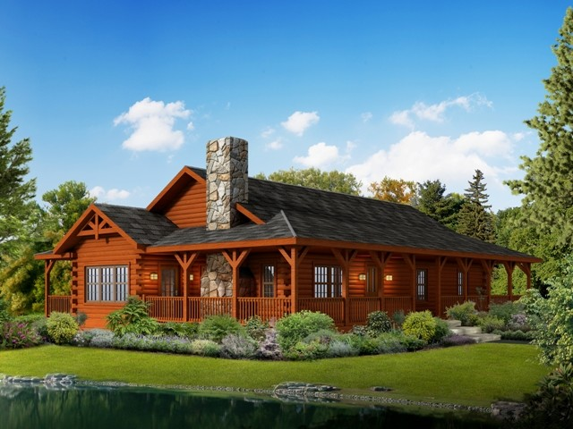 Liberty log cabin home exterior rendering.